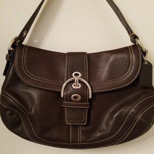 Coach Dark Brown Med Leather Hobo Buckle Flap Bag